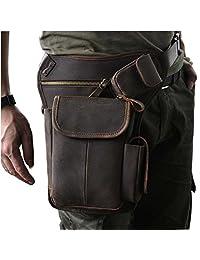 Le'aokuu Mens Genuine Leather Motorcycle Cycling Waist Hip Bum Fanny Pack Drop Leg Bag 3106 (3106 dark brown)