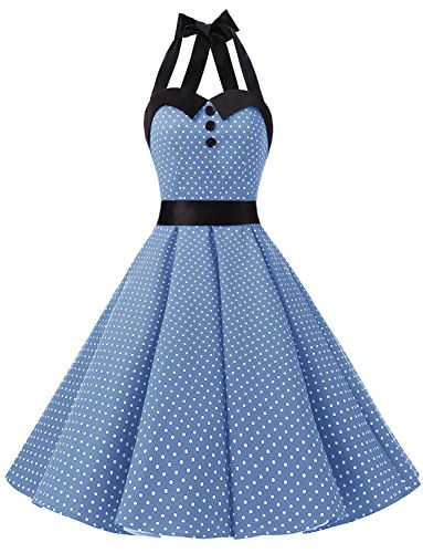 olka Dot Retro Cocktail Prom Dresses 50's 60's Rockabilly Bandage Sky Blue XS ()