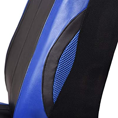 CAR PASS Universal Two Front Seat Covers PU Leather for Car Truck SUV (Black with Blue): Automotive