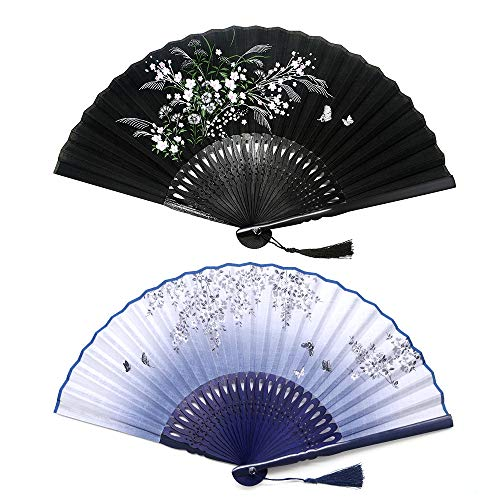 Sunnyac Hand Folding Fan, Japanese Bamboo, Fabric Handheld Fans in Delicate Box, Chinese Vintage Retro Style Handcrafted Fans and Patterns, Great Gift for Women, Girls (Type4) Bamboo Decorative Wall Fan