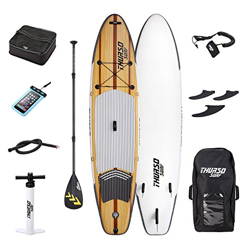 THURSO SURF Waterwalker All Around Inflatable Stand Up Paddle Board SUP 11' x 32'' x 6'' TWO LAYER Deluxe Package Includes CARBON Shaft Paddle/2+1 Quick Lock Fins/Deck (Womens Drop Stitch)