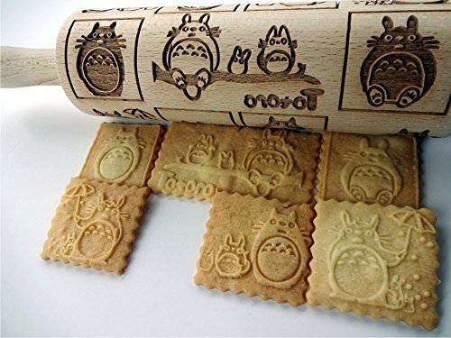 TOTORO embossing rolling pin. Wooden embossing rolling pin with Totoro pattern