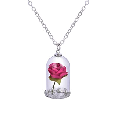 dcca23b734 Amazon.com: Womens Girls Beauty and the Beast Belle Cosplay Rose in Dome  Glass Pendant Necklace Chain (Rose): Jewelry