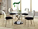 Furniture of America Catarina I 5-Piece Round Glass Top Dining Set