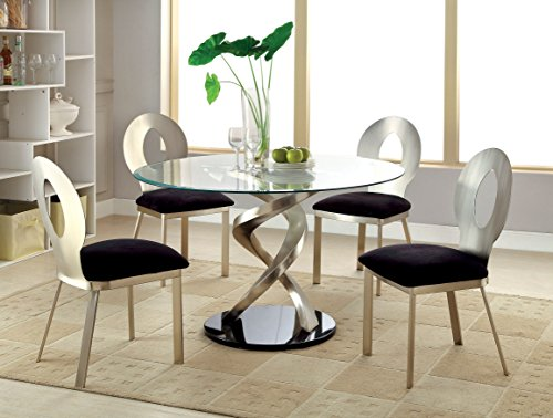 Furniture of America Catarina I 5-Piece Round Glass Top Dining Set -