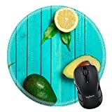 MSD Natural Rubber Mousepad Round Mouse Pad/Mat: 38651934 Food and drink still life concept Fresh green avocado and yellow lemons on a wooden table Selective focus top view