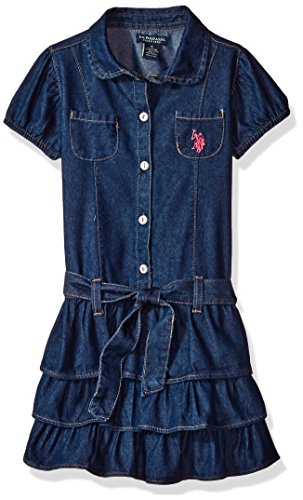 Price comparison product image U.S. Polo Assn. Big Girls' Casual Dress, Dark Wash-6911, 8