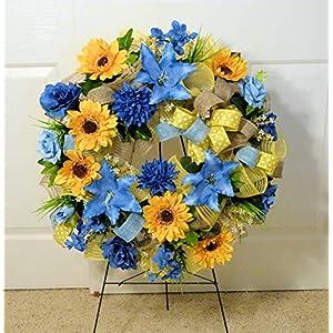 Cemetery Wreath Arrangement, Summer Cemetery Wreath, Deco Mesh Wreaths, Wreath with Sunflowers 52