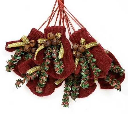Set of 6 Primitive Knitted Burgundy Mittens for Christmas -