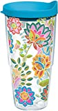 Tervis 1176070 Boho Floral Chic Tumbler with Wrap and Turquoise Lid 24oz