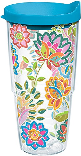 Tervis 1176070 Boho Floral Chic Tumbler with Wrap and Turquoise Lid 24oz, Clear (Tumbler Floral Tervis)