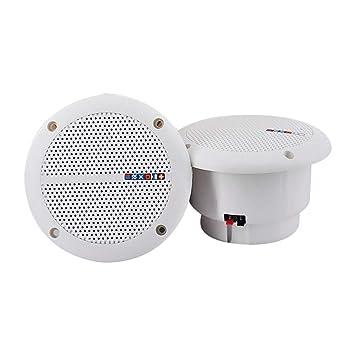 SUPVOX Altavoces de Techo 2PCS WEAH-400 a Prueba de Agua para la Cocina Baño Interior Exterior (Blanco): Amazon.es: Hogar