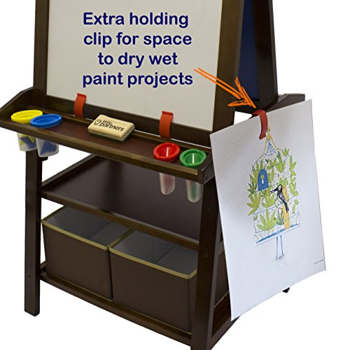 Little Partners 2 Sided A Frame Art Easel With Chalk Board Magnetic Dry Erase Storage Paper Feed And Accessories For Toddlers Espresso