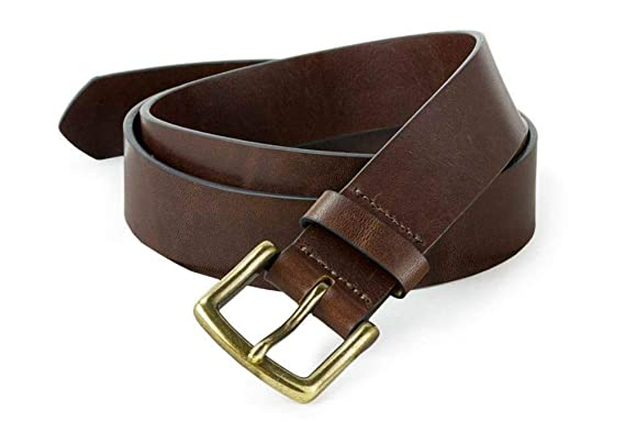 4138c3a08 J.W. Hulme American Heritage Leather Belt with Antique Brass Buckle (Size  32)