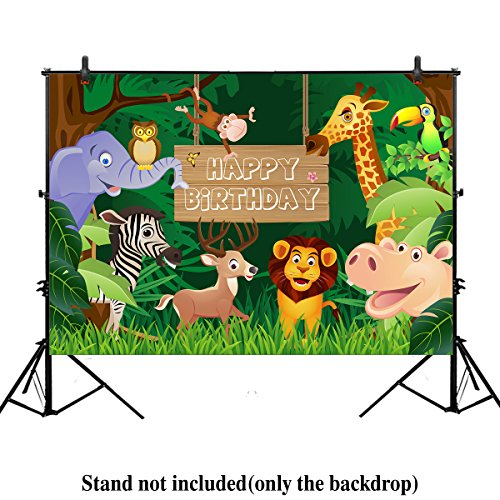 Allenjoy 7x5ft Jungle Safari Themed animals birthday party banner photo backdrop background photography