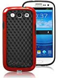 Photonic Designed Hybrid Soft And Hard Case for Samsung Galaxy SIII S III S 3 S3 i9300 2012 Model (ATT, T-Mobile, Sprint, Verizon) (Red)