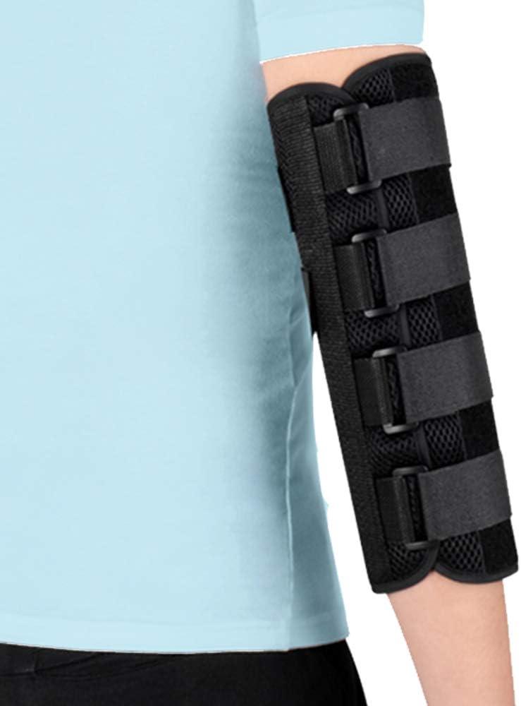 Férula de codo Protector de inmovilizador para fractura de codo para túnel cubital, nervio ulnar, lesiones, manguito de soporte de estabilizador nocturno de PM (L)