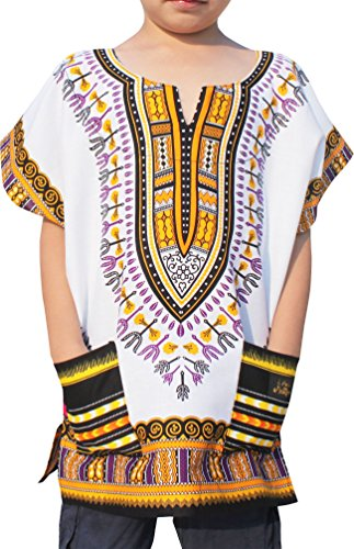 (RaanPahMuang Childs Unisex African Dashiki Kaftan Shirt - XS To L - All Colours, 8-10 Years, Orange Peel White)