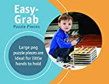 Etna Wood Peg 6-Puzzle Set with Wire Storage Rack - ABC, Numbers, Shapes, Vehicles and Animals Educational Puzzles for Kids 3 and Up