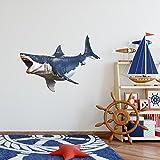 48'' Megalodon #2 HUGE Shark Wall Decal Sticker Ocean Under The Sea Kids Room Decor Boys Bedroom Birthday Gift Man Cave Decor Prehistoric Extinct Big Tooth