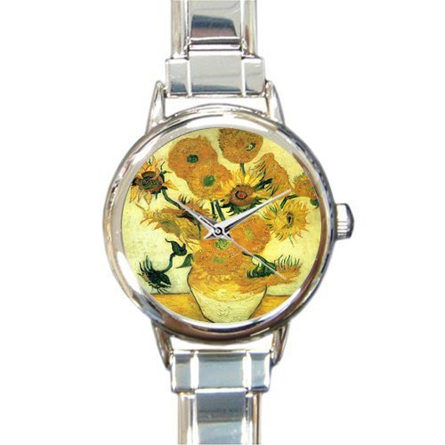 Personalized Watch Sunflower by Vincent Van Gogh Oil Paintings Round Italian Charm stainless steel Watch