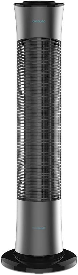 Cecotec Ventilador de Torre ForceSilence 7090 Skyline. 30'' (76cm) de Altura, Oscilante, Motor de Cobre, 3 Velocidades, Temporizador 7,5 Horas, Mando a Distancia, 45W