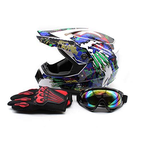 WUPYI Youth Kids Motocross Helmets Offroad Helmet Gloves Goggles DOT Certification Motocross Helmet Motorcycle ATV Dirt Bike (Fashion 2 L) (Dirt Bike Glove Amazon)