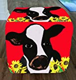 Cow and Sunflowers Ottoman From My Art