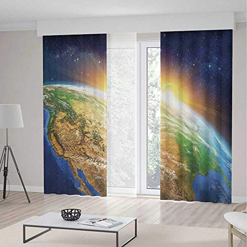 iPrint Outer Space Decor Room Decor Curtains,Celestial View Sunrise over the Planet Earth Star Field Beyond Pacific Ocean View,Living Room Bedroom Window Drapes 2 Panel Set,104 W 84 L,Multi (Celestial Beaded Curtain)