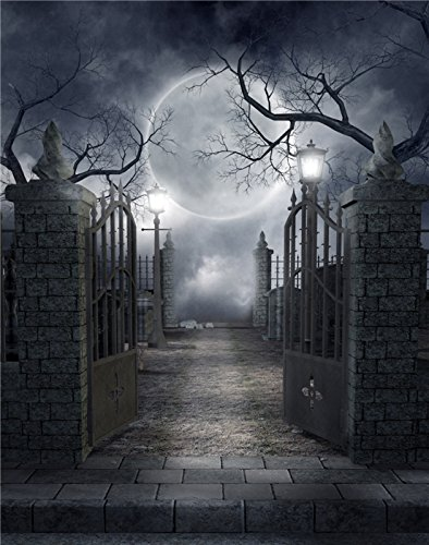 Kate 5x7ft(150X220cm) Happy Halloween Photography Backdrops Night Fantasy Sky Photo Background Irod Gate and Brick Wall Background Great Moon Backdrop Shoot Wrinkles Free]()