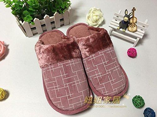 Pantoufles De Coton Fankou Hiver Coton Mûr Traîne Accueil Anti-dérapant Chaud Et Confortable Coton Épais E, 40-41, ()