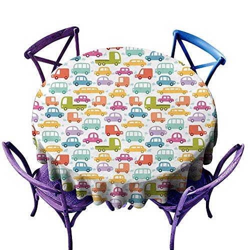 AndyTours Round Outdoor Tablecloth,Cars,Lovely Drive on a Sunny Fun Summer Day Theme with Colorful Buses Trucks Exhaust Fumes,Table Cover for Home Restaurant,47 INCH Multicolor