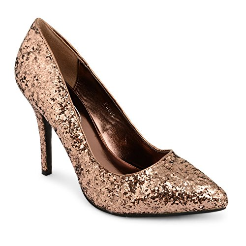 Tilly Shoes punta tacón BODA novia Prom Smart trabajo fiesta noche Oficina de Trabajo Zapatos Bombas Tamaño Marrón - Bronze Glitter