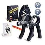 Grip Strength Trainer Hand Grip Strengthener 2 Pack, Adjustable Forearm Grip Workout Exerciser Improve Finger Wrist Dexterity, Gripper for Athlete, Guitar + Instruction, Key Chain and Carrying Bag