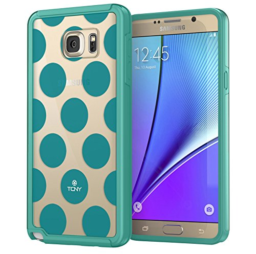 Polka Note (Samsung Galaxy Note 5 Polka Dots Case, True Color Large Polka Dots Printed on Clear Transparent Hybrid Cover Hard + Soft Slim Thin Durable Protective Shockproof TPU Bumper Cover - Teal)