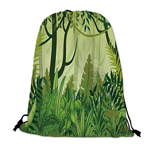 Plant Lightweight Drawstring Bag,Cartoon Style Jungle Depiction Hand Drawn Digital Rainforest Leaves Bushes Trees for Travel Shopping,One_Size