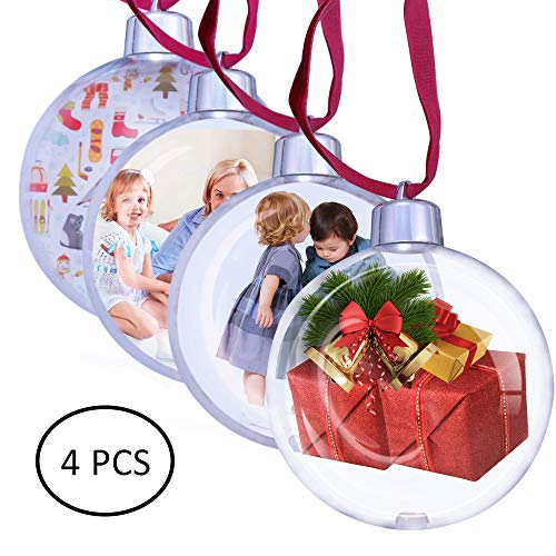 Ornament Ornament Round Round (MuYu Store Clear Plastic Christmas DIY Round Ball Ornament - Pack of 4 (70mm))