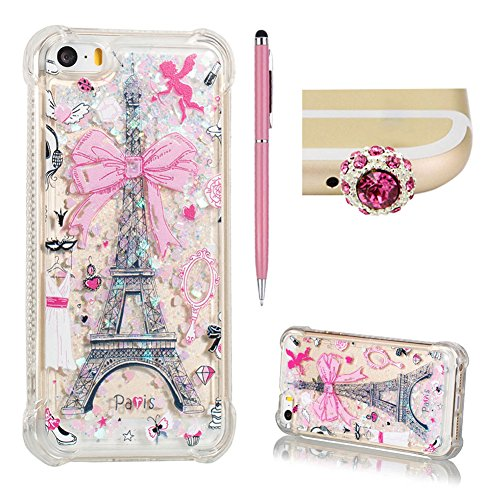 For Apple iPhone 5/5S/SE Flowing Shell Case,SKYXD Original Glitter Liquid Quicksand Crystal Designer Embossing Cute Pattern Shockproof Cover for iPhone SE,Eiffel Tower ()