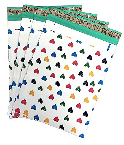 10x13 (100) Colorful Hearts Designer Poly Mailers Shipping Envelopes Boutique Custom Bags By ValueMailers (10