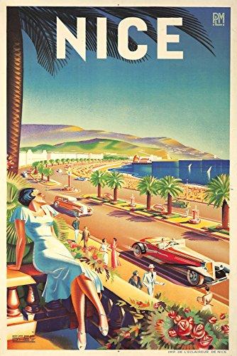 France - Nice - (artist: Hey, Efff D c. 1947) - Vintage Advertisement (9x12 Art Print, Wall Decor Travel Poster)