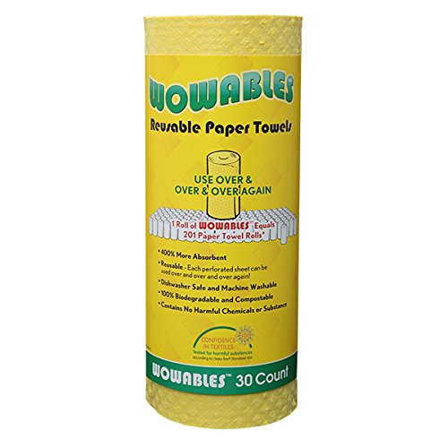Lola Wowables The Reusable Paper Towel - 30 Sheets of Reusable and Washable Paper Towels – Replaces up to 20,000+ Regular Paper Towel Sheets. Dishwasher and Machine Washable