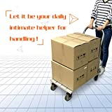 Vtuvia Folding Aluminum Platform Truck Flatbed Cart with Secure Brakes Swivel Rubber Bearing Wheels Push Cart Dolly Hand Truck Trolley 660 lbs Portable for Commercial & Home