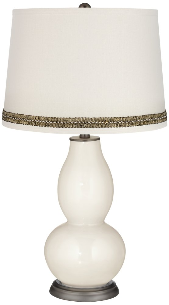 West Highland White Double Gourd Table Lamp with Wave Braid Trim
