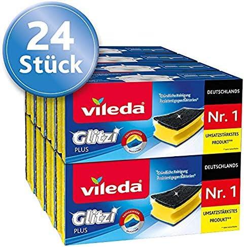 saugstark 8 x 3 St/ück mit Antibac-Effekt gegen Bakterien Vileda Glitzi Plus Topfreiniger 24er-Pack