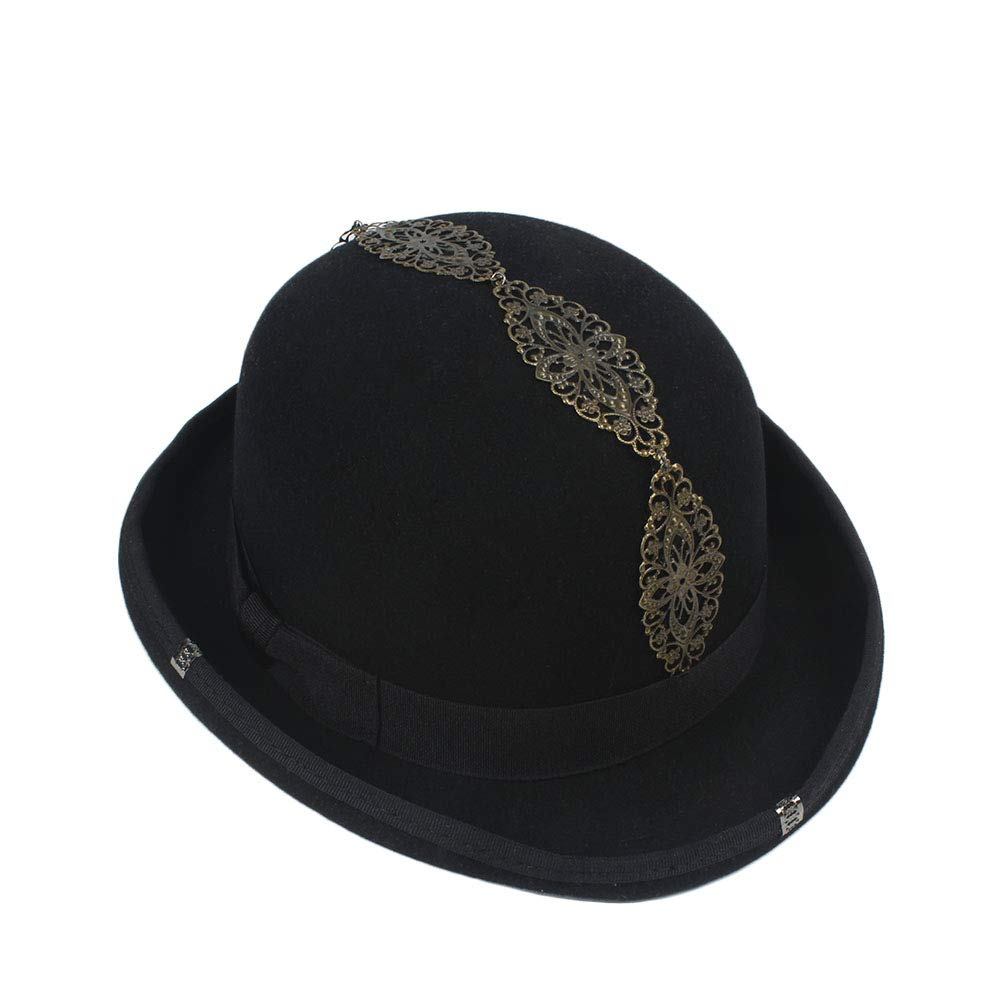 LL Women's Vintage Steampunk Gear Glasses Black Top Hat Brown Fedora Party Bowler Headwear (Color : Black, Size : 57cm) by LL (Image #4)