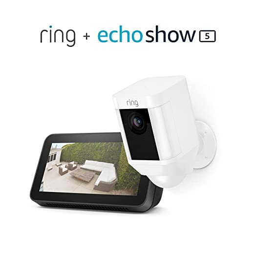 Ring Spotlight Cam Battery (White) Bundle with Echo Show 5 (2nd Gen) | Amazon