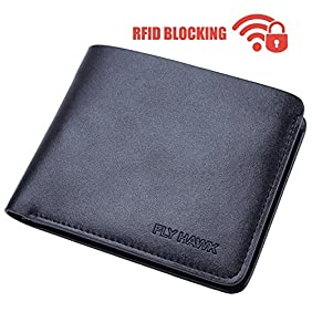 FlyHawk Best RFID Blocking Biford Genuine Leather Wallets for Men