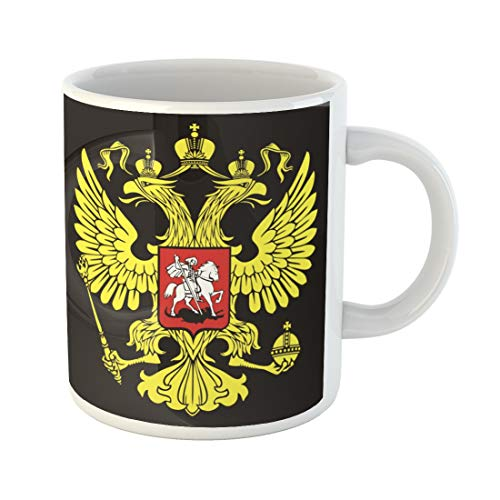 Emvency Funny Coffee Mug Emblem the Russian Two Headed Eagle Symbol of Imperial Russia Federation Moscow 11 Oz Ceramic Coffee Mug Tea Cup Best Gift Or Souvenir
