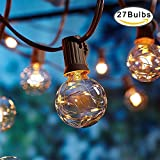 OFUN Outdoor Garden String Lights, 25ft G40 Globe String Lights, UL listed Gazebo Lights with 27 G40 Bulbs, Outdoor Party Lights for Garden Party Bistro Pergola Tents Cafe Gazebo, Warm White