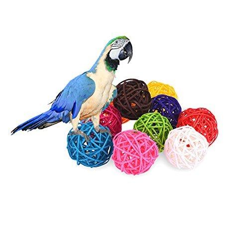 kamoku101 10 ratán bolas Bird Toy DIY accesorios de juguete para loros onda loros loros Ninfa loros loros agapornis Aras African Greys Cacatúa Amazon jaula ...